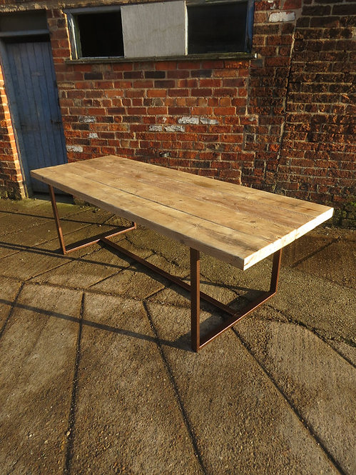 Reclaimed Industrial Chic 8-10 Seater Solid Wood Dining Table Copper CB 423
