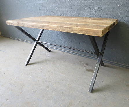 Reclaimed Industrial Chic X End 6-8 Seater Solid Wood & Metal Dining Table 361