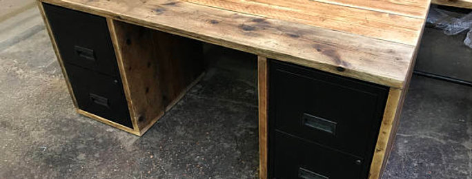 Industrial Chic Reclaimed Custom Office Desk with Double Twin Drawers 594