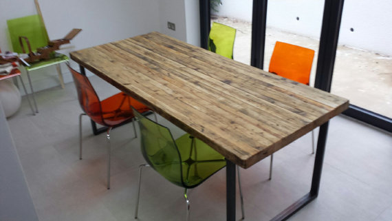 Reclaimed Industrial Chic 6-8 Seater Solid Wood & Metal Dining Table HCB 489
