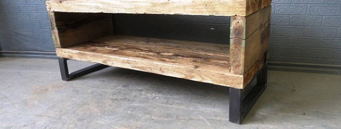 Industrial Chic Reclaimed Coffee Table TV Unit Stand 070