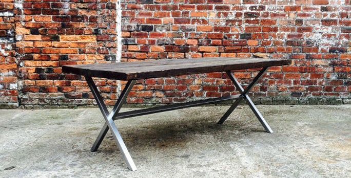 Reclaimed Industrial Chic 6-8 Seater Solid Wood & Metal Dining Table 460