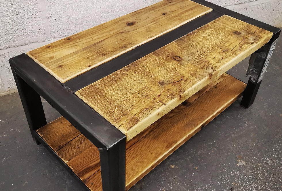 Industrial Chic Style Reclaimed Custom Coffee Table TV Unit with shelf 658