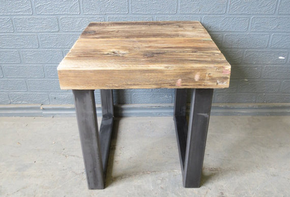 Industrial Chic Style Reclaimed Custom Bedside Side Table 075