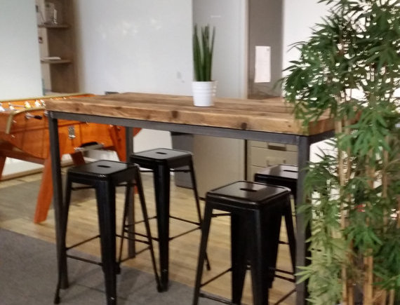 Reclaimed Industrial Chic 6-8 Seater Tall Poseur Bar Straight Leg Table 143