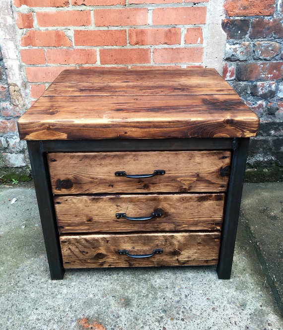 Reclaimed Industrial Chic Timber 3 Drawer Chest Island Unit Steel & Wood 339