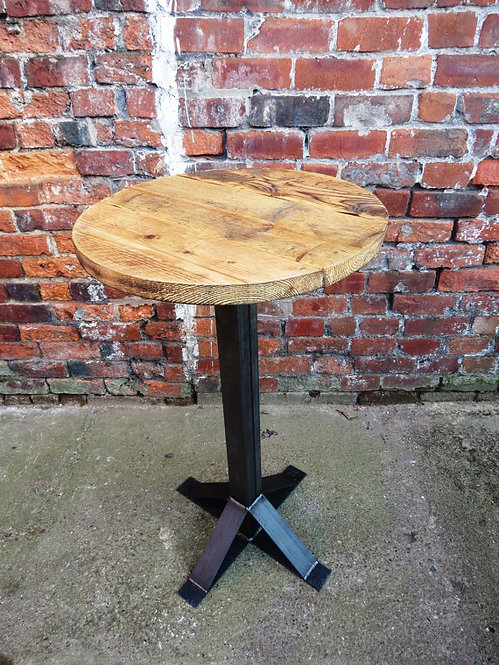 Industrial Chic Reclaimed 2-4 Seater Round Poseur Pedestal Table Steel Wood 214