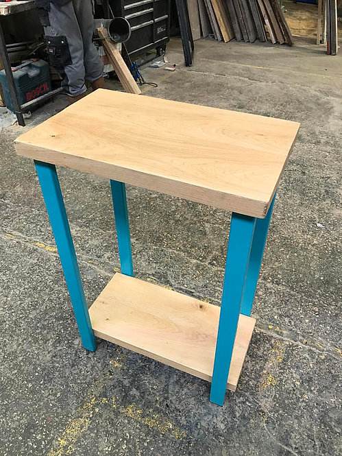 Industrial Chic Custom Full Stave Solid Oak Console Table with Shelf Teal 534