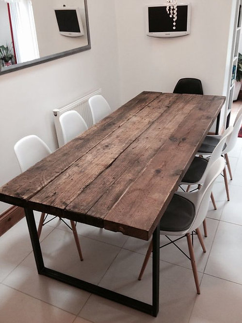 Reclaimed Industrial Chic 6-8 Seater Solid Wood & Metal Dining Table HCB 242