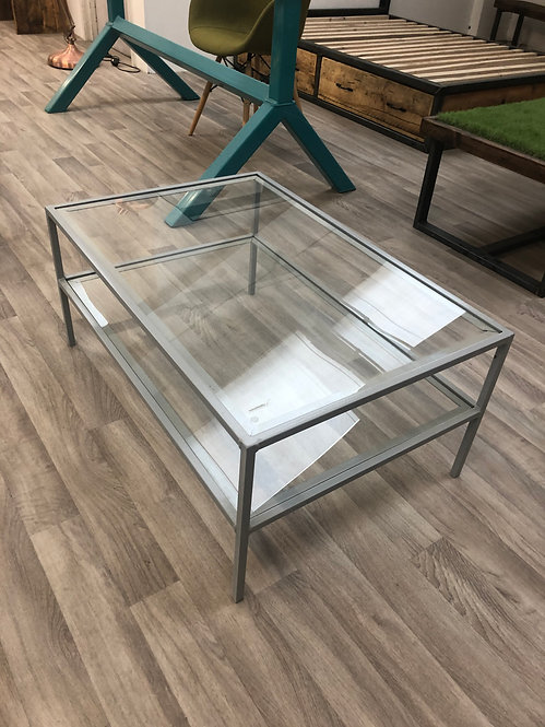 ***IN STOCK*** GLASS COFFEE TABLE WITH SHELF
