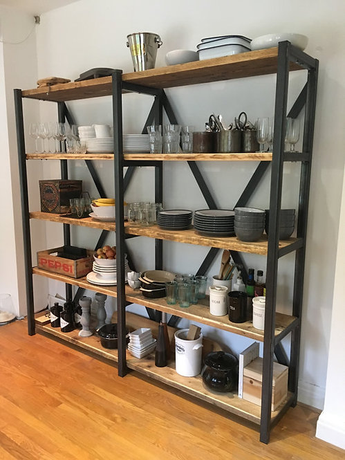 Industrial Chic Large Reclaimed Custom Steel & Wood Bookcase Shelving Unit 094