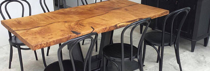 Reclaimed Industrial Chic Waney Live Edge Solid Oak Table 562