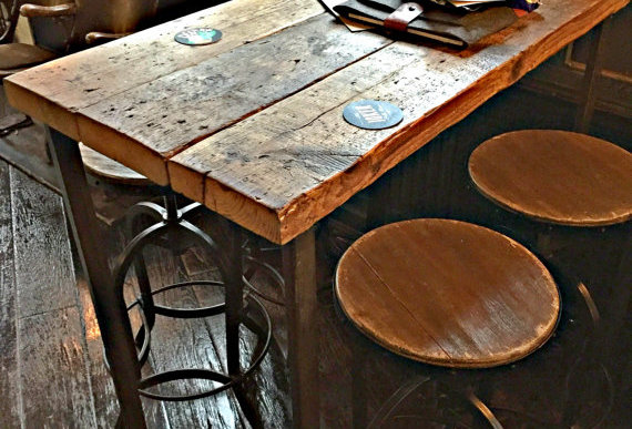 Reclaimed Industrial 4 Seater Chic Tall Poseur Table HCB Wood & Steel 335