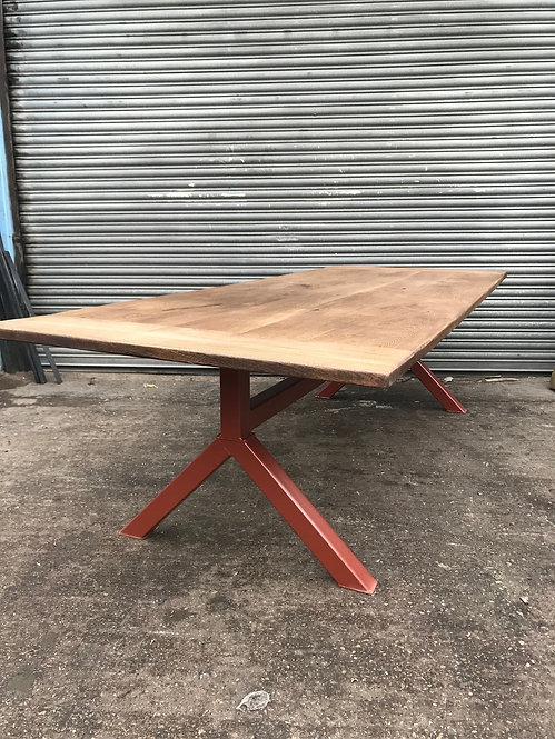 Industrial Chic Full Stave Oak Y-Frame Table with Copper Pearl Base-629