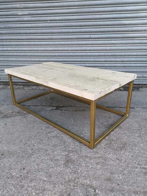 Reclaimed Industrial Chic Cube Coffee Table TV Stand in Gold 636