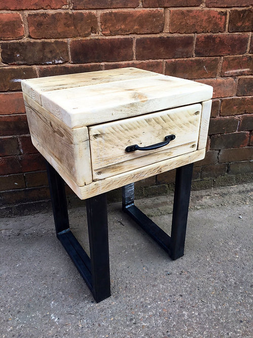 Industrial Chic Style Reclaimed Custom Bedside Side Table with Drawer 334