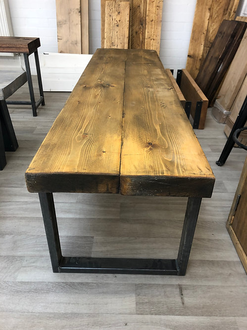 ***IN STOCK*** RECLAIMED BENCH WITH HIDDEN CENTRE BAR IN OIL