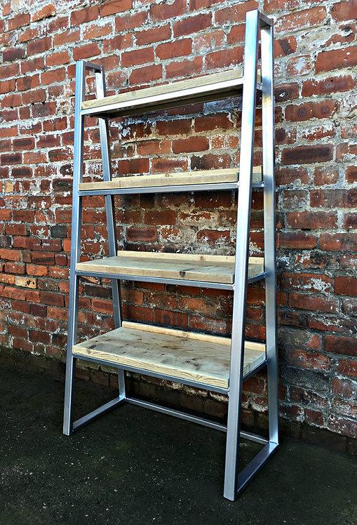 Industrial Chic Reclaimed Custom Steel & Wood Trapezium Bookcase Media Unit 168