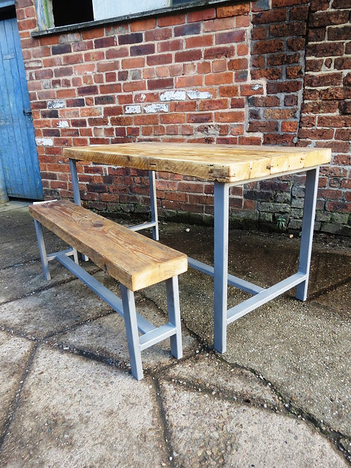 Reclaimed Industrial Chic 4 Seater Solid Wood & Metal Dining Table 210