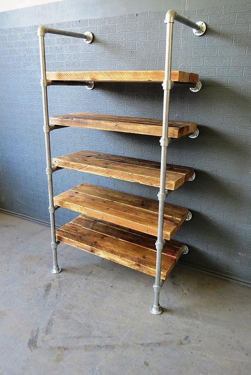 Reclaimed Industrial Chic Custom Made Scaffold Pipe Shelving Furniture 452
