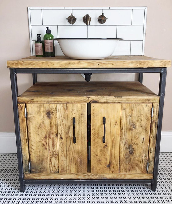 Reclaimed Industrial Rustic Bathroom Basin Washstand Sideboard with Door 590