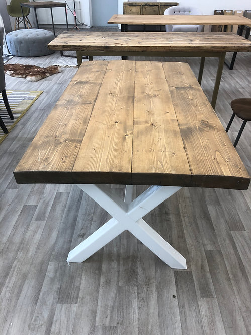 ***IN STOCK*** RECLAIMED TIMBER DOUBLE TABLE IN OIL WHITE POWDER COATED FRAME