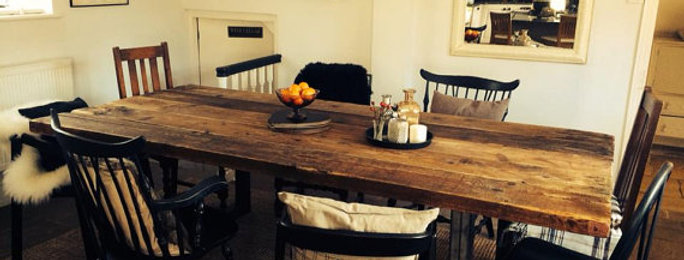 Reclaimed Industrial Chic 10-12 Seater Solid Wood & Metal Dining Table HCB 078