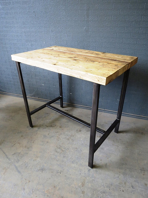 Industrial Chic Reclaimed Side Poseur Table Cafe Restaurant with Steel Base 591