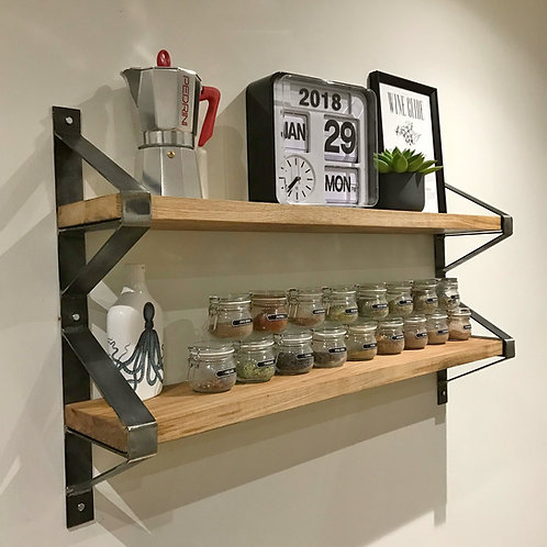 Industrial Chic Full Stave Oak Double Shelf with Trapeze Steel Brackets 608