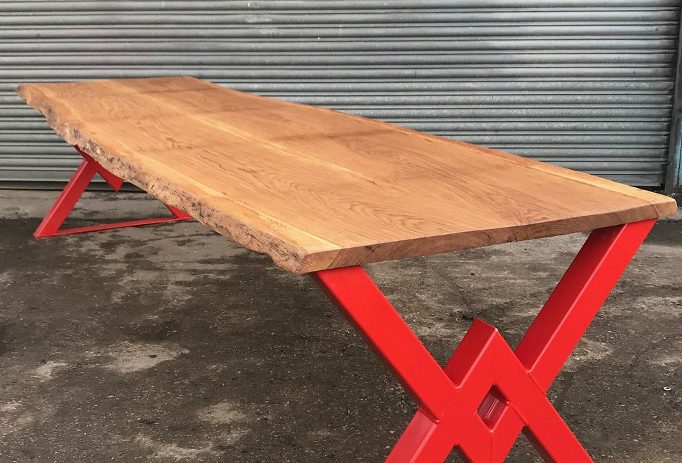 Industrial Chic Live Waney Edge Solid Oak Bespoke Table 597
