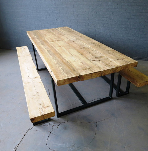 Reclaimed Industrial Chic 6 8 Seater Solid Wood Metal Dining Table 323