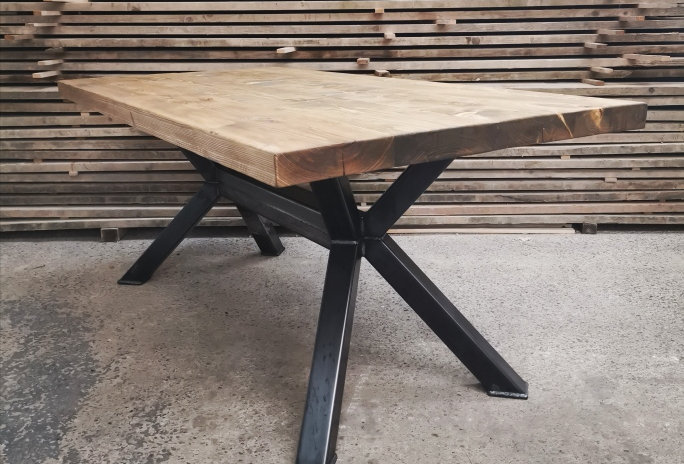 Reclaimed Industrial Chic OPEN-X 6-8 Seater Solid Wood & Steel Dining Table- 662