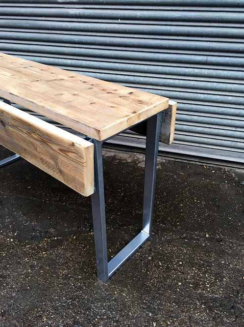 Industrial Chic Reclaimed Wood Drop Leaf Dining Table Silver Base Bespoke 494