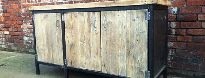 Reclaimed Industrial Chic Rustic Sideboard Dresser Cupboard 596