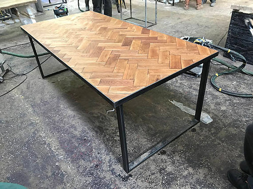 Reclaimed Solid Oak Parquet Industrial Chic 6-8 Seat Wood Steel Table HCB 523