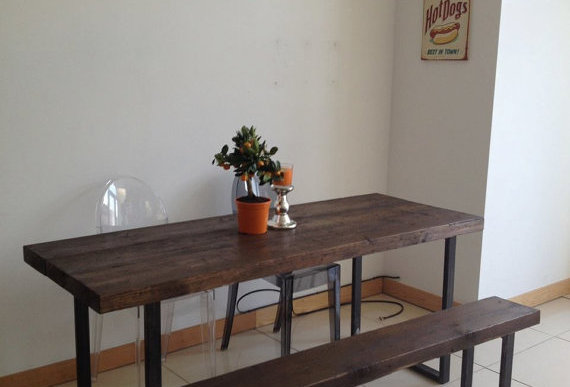 Reclaimed Industrial Chic 6-8 Seater Solid Wood & Metal Dining Table CB 282