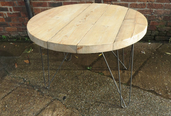 Industrial Chic Reclaimed Custom Hairpin Leg Round Office Desk Table 152