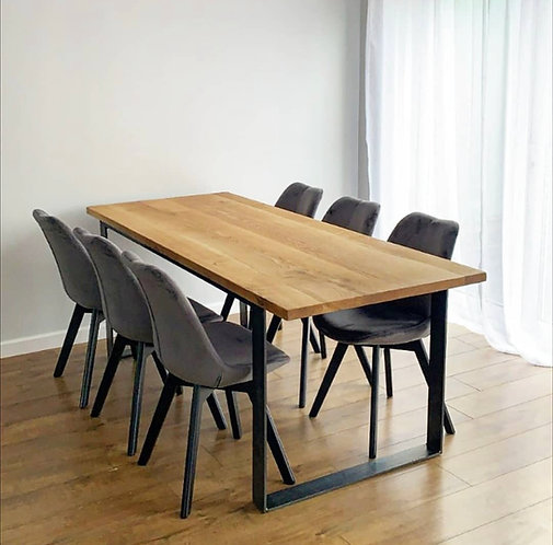 Solid Full Stave Oak Industrial Chic 6-8 Seater Wood Steel Dining Table - 672
