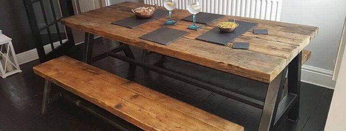 Reclaimed Industrial Chic A-Frame 6-8 Seater Solid Wood Metal Table & Bench 625