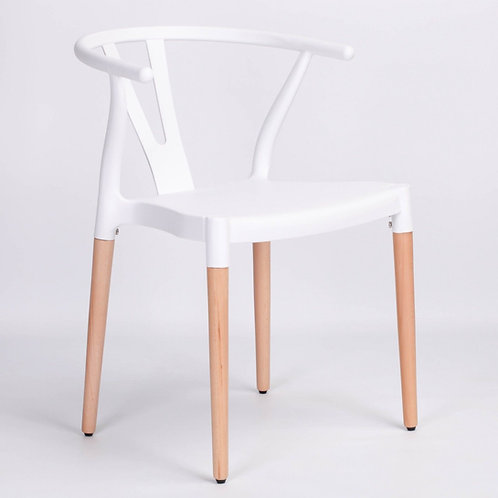 Retro Scandinavian White Wishbone Dining Chair