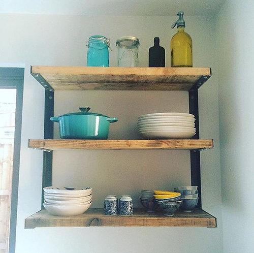 Reclaimed Industrial Chic Steel 3 Shelf Kitchen Storage / Bookcase 176