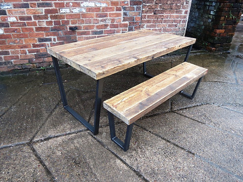Reclaimed Industrial Chic Trapezium Wood & Metal Desk Dining Table 241