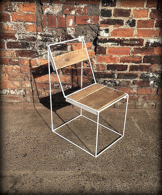 Reclaimed Industrial Chic Solid Wood & Metal Hairpin White Ghost Chair 136