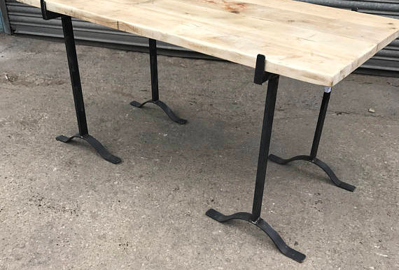 Reclaimed Industrial 4 Seater Chic Antique Trestle Leg Dining Table 532