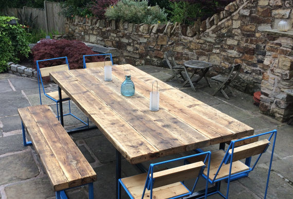 Outdoor Reclaimed Industrial Chic 8-10 Seat Solid Wood Metal Dining Table CB 623