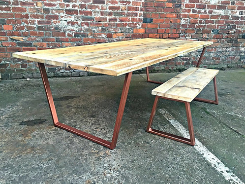 Reclaimed Industrial Chic 8-10 Seater Wood & Copper Frame Table & Bench 090