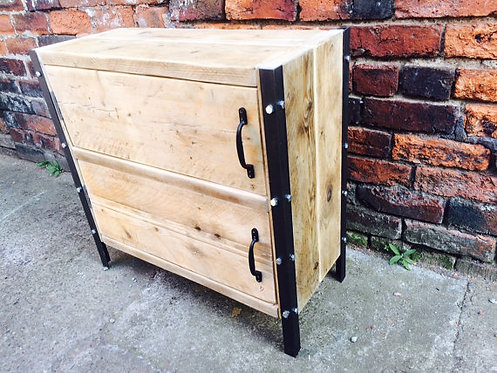 Reclaimed Industrial Chic Rustic Sideboard TV Unit Cupboard 399