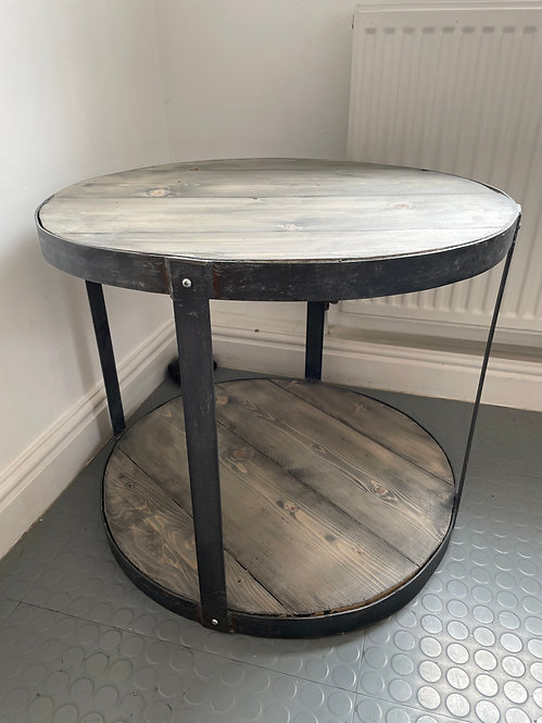 ***IN STOCK*** RECLAIMED ROUND SIDE / COFFEE TABLE IN GREYWASH