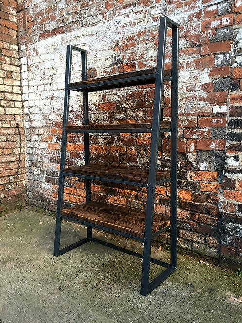 Industrial Chic Reclaimed Custom Steel & Wood Trapezium Bookcase Shelving 027