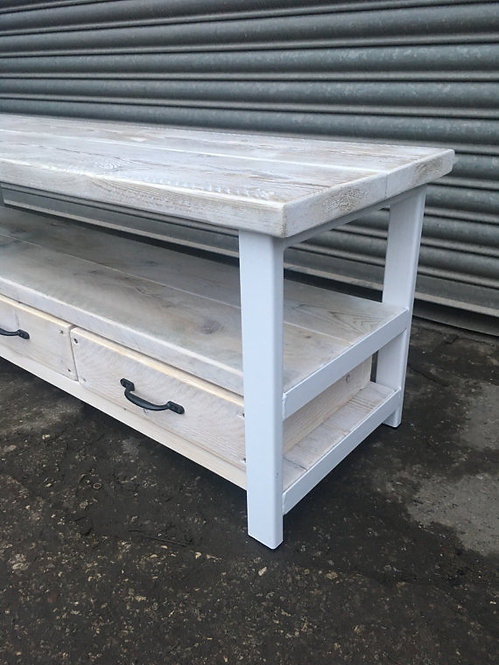 Industrial Chic Reclaimed Wood TV Stand Media Unit with 3 Drawers White 331